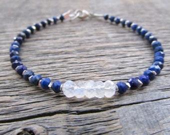 Lapis Lazuli Bracelet, Moonstone Bracelet, June Birthstone Bracelet, Lapis Bracelet, Moonstone Jewelry, Bead Bracelet, Stack Bracelet