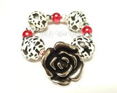 Silver Rose Bracelet, Leopard Bracelet, Wood Bracelet, Red, Fiesta, Senorita Bracelet, Handmade, Stretchy, Womens, Custom Beaded Jewelry