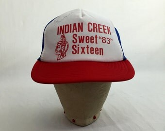 "Vintage 1983 Indian Creek ""Sweet Sixteen"" Trucker Hat // Cap // Mesh // Retro // Throwback // Autographed // Sweet 16"