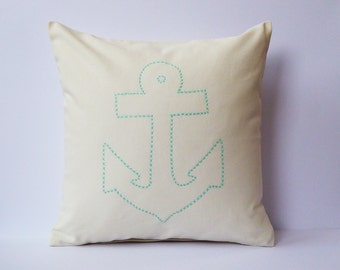 Hand Embroidered Anker pillow 100% cotton canvas 40x40 Mint Creme