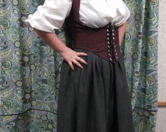 Under the bust corset, wench, pirate, costume, SCA, LARP, reenactment, renaissance, garb