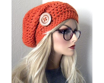 Orange Slouchy Beanie, Over sized Slouch Hat, Bohemian Chic, Handmade Crocheted Beanie, Orange Beanie,   winter fashion accessories
