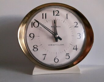 Vintage Westclox Big Ben Alarm Clock - Gold and Ivory Plastic Alarm Clock - Mid Century Modern Atomic Age Style - Made in Canada - 1960s