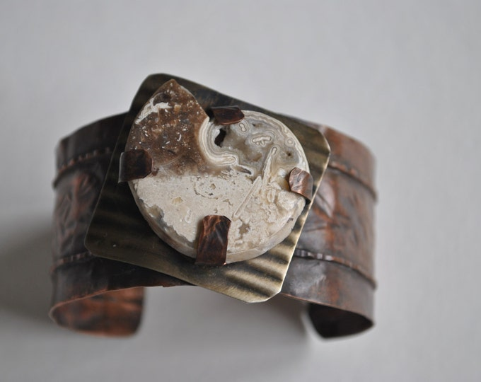 Mixed metals rustic copper cuff with genuine ammonite fossil stone, copper bracelet, metal work, boho, unisex