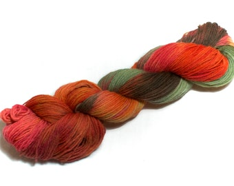 Autumn Hill – Hand Dyed, Pure Kent Romney Wool Yarn – Red, Orange, Yellow, Brown, Green DK Weight hand dyed yarn knitting and crochet (100g)