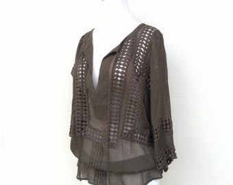 Olive Green Lace Insert Blouse