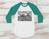 Mountain Shirt - unisex t-shirt with Oregon mountain print, Pacific Northwest block print, green sleeves, 3/4 blend baseball shirt