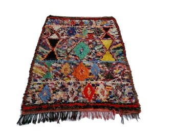 "87""X55"" Vintage Moroccan rug woven by hand from scraps of fabric / boucherouite / boucherouette"