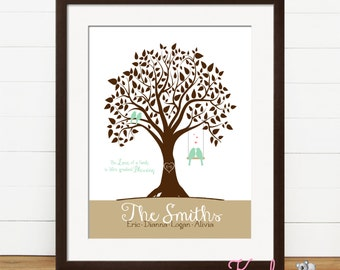 Personalized Family Tree - Family Art Print - Family Wall Art - Personalized Family Art - Personalized Home Decor