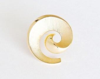 TRIFARI Golden Spiral Brooch Pin