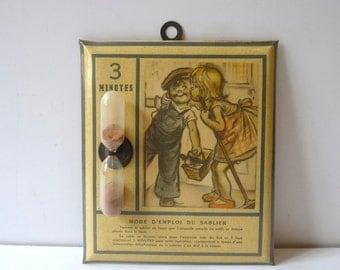 French Vintage Hourglass Wall Hourglass with Children Decor Sandglass Circa 1940s Kitchen Decor