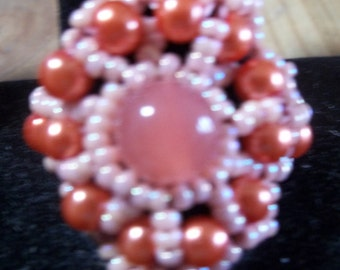 Peach colored beaded ring