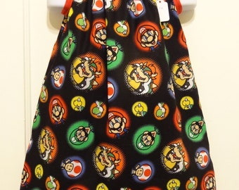 Nintendo Super Mario Brothers Circle Toss Girls Dress, Pillowcase Dress Made to Order Sizes 12-18m, 18-24m, and 2 to 8, Comic Con