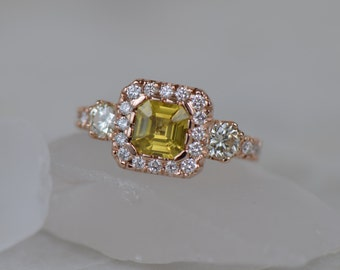 One-of-a-Kind: Natural Asscher Cut Sapphire and Diamond Ring (14K Rose Gold) and >>>> GIFT WITH PURCHASE! >>>>