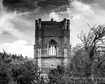 Ancient Abbey Ruin, Yorkshire, English Medieval Historical Architecture Photography Print