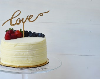 Love Wedding Cake Topper/Birch wood cake topper/Gold mirrored acrylic sweetheart cake topper