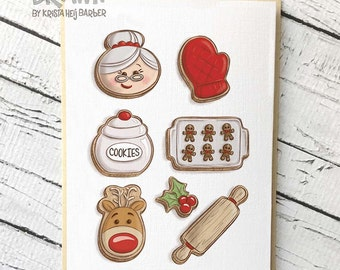 Holiday Greeting Cards: Mrs. Claus Cookie Set