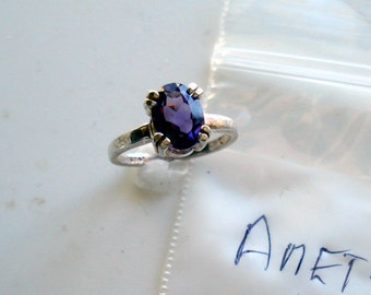 Natural Amethyst Faceted 8x6mm Oval Sterling Silver Ring Size 4.25 Vintage Purple Gemstone Jewelry hand made February Birthstone