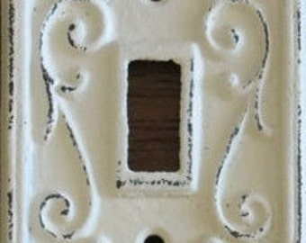 Fleur de lis Wall Decor Light switch cover/ cast Iron/ Shabby Chic/ distressed or not distressed your choice