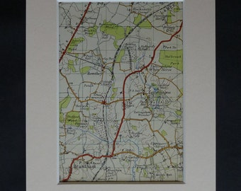 1950s Vintage Suffolk Map of Bentley, Baldrough's Wood Decor, Available Framed, Brantham Art Tattingstone Picture Stutton Vale Brockley Wood