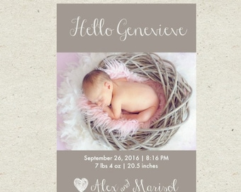 Baby Girl Birth Announcement - Personalized birth announcement - Custom birth announcement - newborn birth announcement - photo announcement
