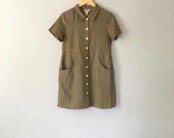olive green linen mini dress / 80s linen pocket dress / m