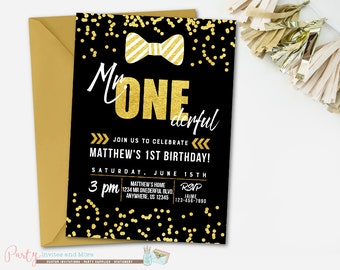 Mr Onederful Birthday Invitation, Bowtie Birthday Invitation, Mr. Onederful Invitation, Little Man Invitation, Black and Gold