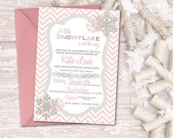 snowflake baby shower invitation winter baby shower invitation chevron