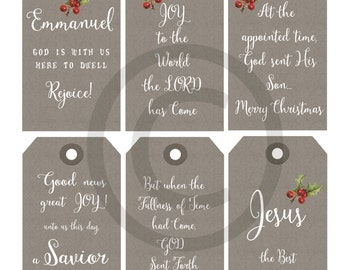 Religious gift tags etsy printable christmas christian religious gift tags neutral kraft paper tags instant download original printable nativity negle Images
