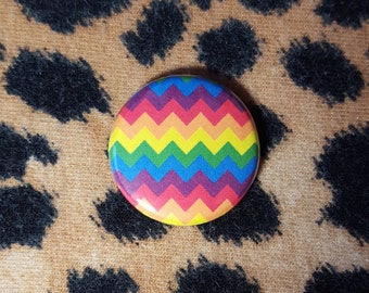 LGBT Rainbow Chevron Zig Zag Pinback Button or Magnet