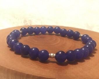 Purple Jade Bracelet Gemstone Dainty Hill Tribe Silver Beaded Stretch Boho Bead Bracelet - B0101