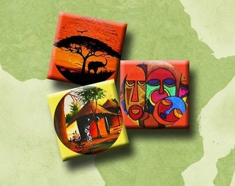 AFRICAN BEAT II - Digital Collage Sheet 1 inch squares - pendants, earrings, decoupage, scrap-booking etc. Instant Download #84-1.