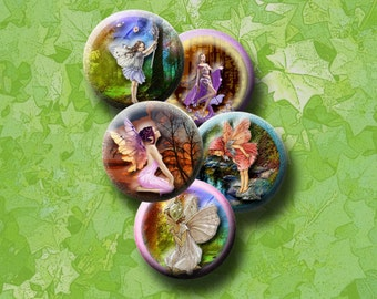 FAIRIES - Digital Collage Sheet 16mm round images for bottle caps, pendants, round bezels, scrap-booking etc. Instant Download #56.