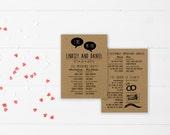 DIY Wedding Program DEPOSIT - Printable, Custom, Country, Quirky, Kraft, Fun, Boho, Funny, Hipster, Digital (Wedding Design #43)