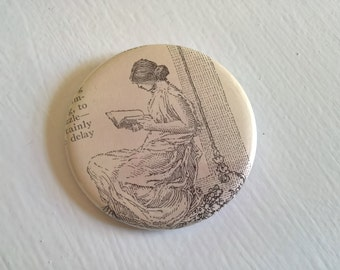 Muse of Books Vintage Pinback Button --- Antique Reading Maiden Badge --- Classical Edwardian Librarian Style Accessory Pin Stocking Stuffer