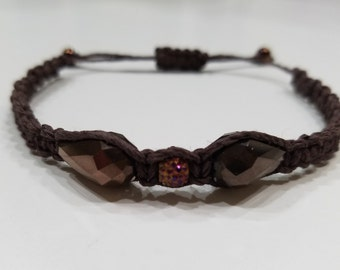 Brown Macrame Bracelet with Brown Glass and Purple Beads