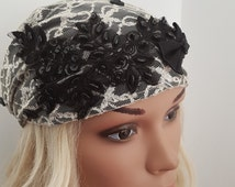 Black & White Headcovering , Sinar Tichel , Head Wrap ,Chemo Hat , Floral Hair Scarf , Black Bandana , Headscarves, Chemo Head Warp