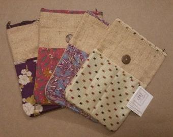 Burlap and Sari fabric iPad Mini Pouch