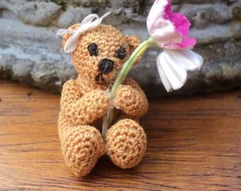 Dollhouse miniature crochet bear with flowers micro scale