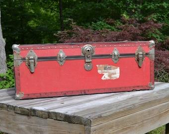 Vintage Red Trunk - Steamer - Rare Color