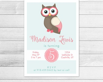Owl Birthday Party Invitation, Printable Digital Invite File, Pink, Girl