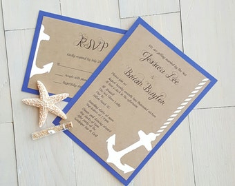Nautical Wedding Invitation Anchor Invitations Beach