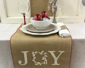Burlap Table Runner with Joy and a wreath & red trim Christmas runner Holiday decor Christmas decorating