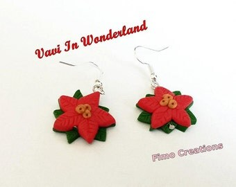 Red poinsettia Earrings Polymer Clay Fimo Handmade