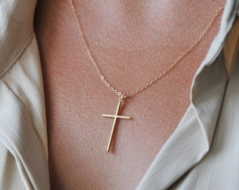 Thin gold cross necklace | Communion cross necklace, Delicate silver cross necklace, Cross necklace for girls, Gift for her, Mom gift