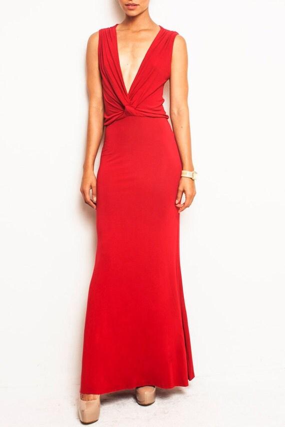 ANGIE - Reversible Grecian Drape Maxi Evening Dress Backless Plunge - Black Red Nude - Michael Kors, Ralph Lauren, J Crew, DVF, Halston