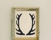 Antlers 14 x 17 Barn Wood Framed Print home decor, present, housewarming gift, gray weathered frame, rustic