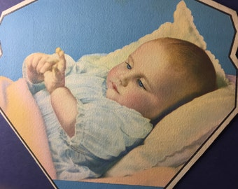 """Vintage 1940s Cleveland Ohio Advertising, Litho of  """"Contentment"""" on a Handheld Church Fan"""