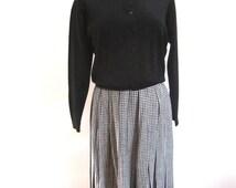 M 50s 60s Sweater Black Cardigan Button Down Long Sleeves by Mara San Knit Works MCM Acrylic Medium