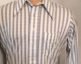 Vintage MENS 1970s Byron by Campus grey & white striped knit shirt, size L, made in U.S.A.